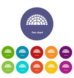 Fan chart icons set color vector