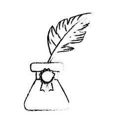 figure cute inkpot with feather to writing vector image