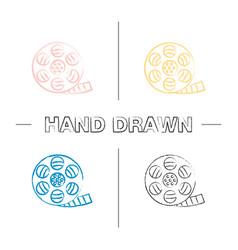 Filmstrip roll hand drawn icons set vector