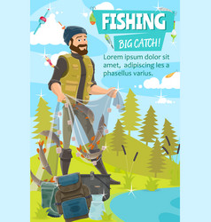 Fisherman fishing net fish catch bait and hook vector