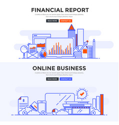 Flat design concept banner -financial report and vector