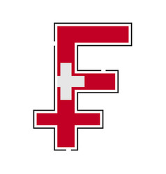 franc currency symbol swiss franc with a flag icon vector image