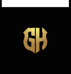 gh logo monogram with gold colors and shield vector image