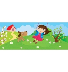 Girl Riding On Swing In Spring vector image