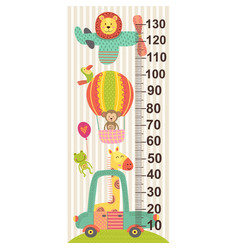 growth measure with baby jungle animals vector image
