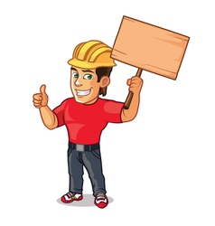 Handsome Construction Worker Holding Board of vector image
