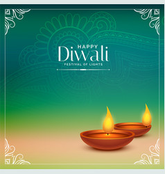 happy diwali beautiful background with realistic vector image