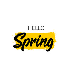 hello spring hand written type banner hello vector image