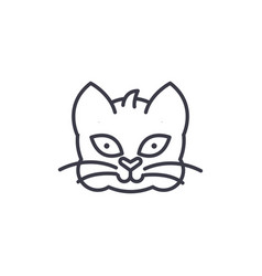 home cat head line icon sign vector image