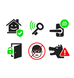 home security icon set 04 vector image