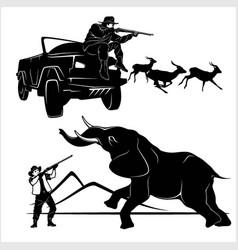 hunting trophy elephant - african safari vector image