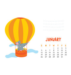 january calendar page with cute rat in travel vector image