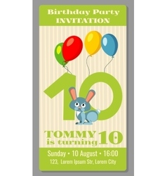 Kids birthday party cartoon animals invitation vector image