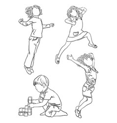 Kids playing line art vector