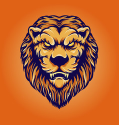 Lion head vintage character vector