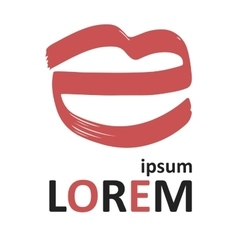 Logo with red lips vector