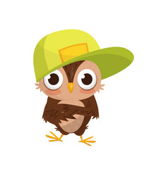 lovely little owlet wearing baseball cap cute vector image