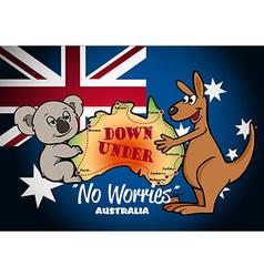 Map of Australia with Koala Kangaroo and flag vector