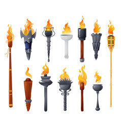 Medieval torches with burning fire set vector