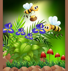 Nature scene with honey bees and flowers vector