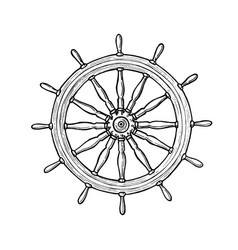 nautical black helm ship steering wheel ink pen vector image