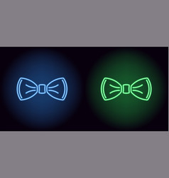 neon bow tie in blue and green color vector image