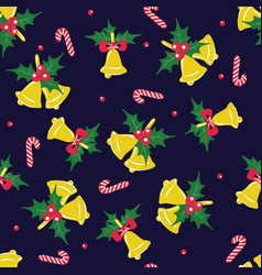 New year or christmas seamless pattern with bells vector