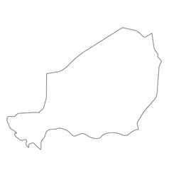 Niger - solid black outline border map of country vector