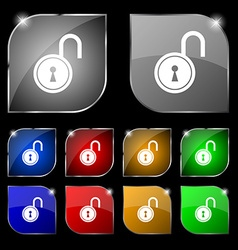 Open lock icon sign Set of ten colorful buttons vector