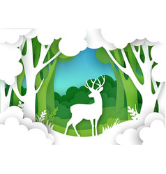paper cut forest landscape and beautiful deer vector image