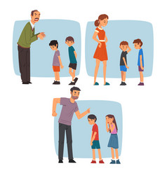 parents scolding naughty boys set adult people vector image