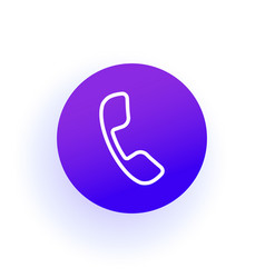 phone icon handset in a circle purple gradient vector image