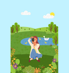 photographing nature woman with camera vector image