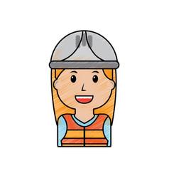 portrait woman character worker with helmet vector image