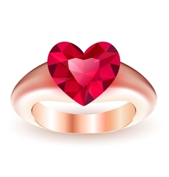 Ring with ruby heart shaped vector