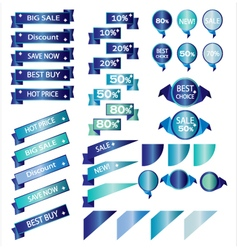 Sale blue ribbons isolated on white background vector image