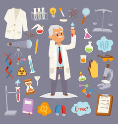 Science man character professor lab icons vector