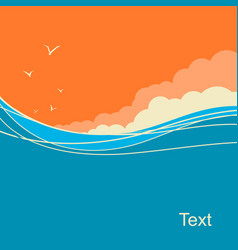Seascape background for text ocean waves vector