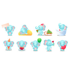 Set cute and funny kid blue elephant character vector