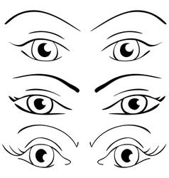 Set female eyes on a white vector