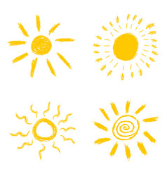 set of hand drawn chalk sun icons isolated on vector image