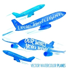 Set of watercolor planes vector