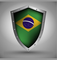 shield with the brazilian flag vector image vector image