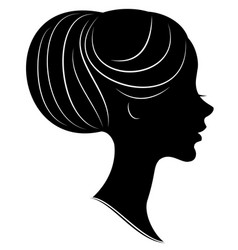 silhouette a profile a sweet lady s head vector image