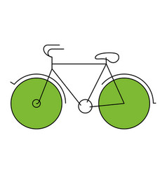 Silhouette color section of tourist bicycle icon vector