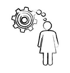 Sketch of woman thought in a pinion vector