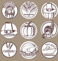 Sketch Thanksgiving set of labels vector image