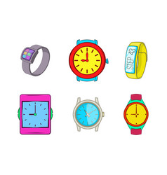 smart watch icon set cartoon style vector image