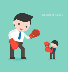 Tiny businessman fighting with giant business vector