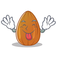 Tongue out almond nut character cartoon vector